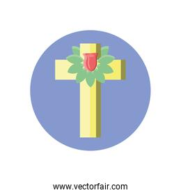 catholic cross with leaves crown, block style icon