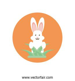cute bunny and leaves, block style design