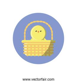 basket with cute chicken icon, block style design