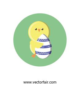 cute chicken with easter egg, block style design