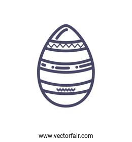striped easter egg icon, line style design