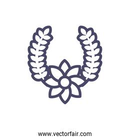 wreath of leaves and beautiful flower, line style design