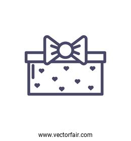 gift box with hearts design, line style