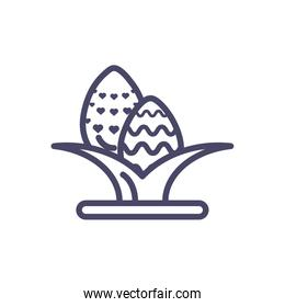leaves with easter eggs, line style icon
