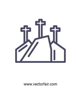 mountain with three crosses, line style icon