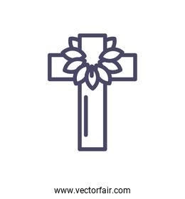 catholic cross with leaves crown, line style icon
