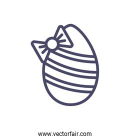 easter egg with decorative bow, line style design