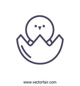 eggshell with cute little chicken, line style icon
