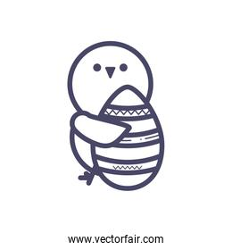 cute chicken with easter egg, line style design