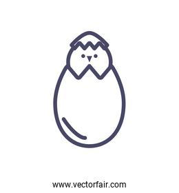 egg with cute little chicken, line style icon