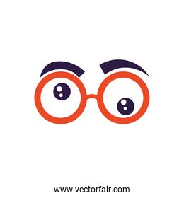 crazy glasses with eyebrows, flat style icon