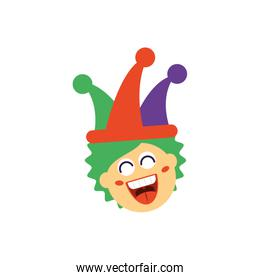 clown with jester hat, flat style icon