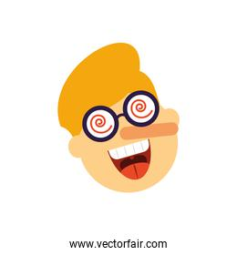 cartoon man with crazy glasses and fake nose, flat style icon