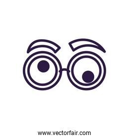 crazy glasses with eyebrows, line style icon