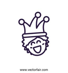 clown with jester hat, line style icon