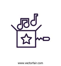 jokebox with musical notes, line style icon