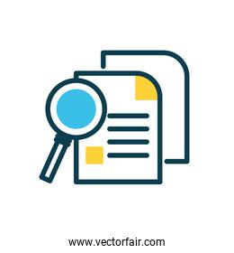 magnifying glass and document pages icon, half color style