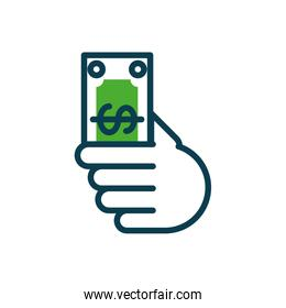 hand holding a money bill icon, half color style