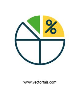 graphic pie chart with percentage symbol, half color style