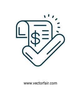 invoice with check symbol icon, line style