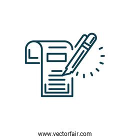 document and highlighter pen icon, line style