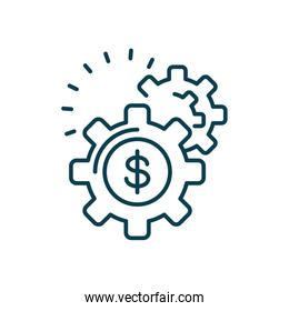 gear wheels with money symbol, line color style