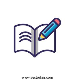 pen and opened book icon, colorful line and fill style