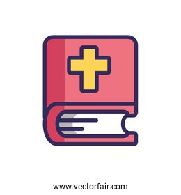 holy bible icon, colorful line and fill style