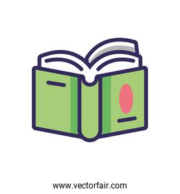 academic book icon, colorful line and fill style