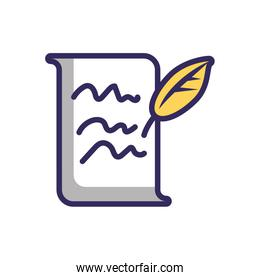 writed page and pen feather, line and fill style icon