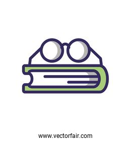glasses and book, line and fill style icon