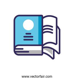 book with document pages, line and fill style icon