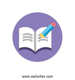 pen and opened book icon, colorful block style