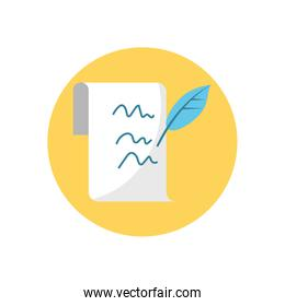 writed page and pen feather, block style icon