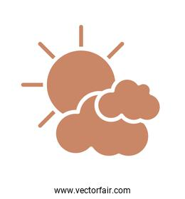 sun and clouds icon, silhouette style design