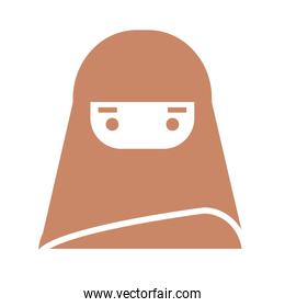 woman with burka icon, silhouette style design