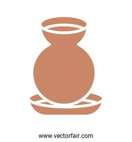 clay water jar pot icon, silhouette style design
