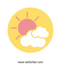 sun and clouds icon, block style design