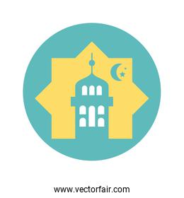 islamic mosque and moon icon, silhouette style icon