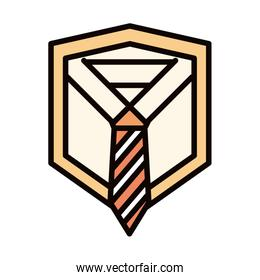 happy fathers day, shirt with necktie greeting card celebration line and fill icon