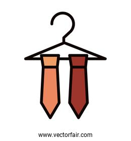 necktie in hanger clothes fashion celebration line and fill icon