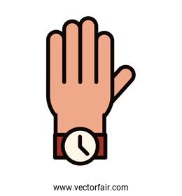 hand with wrist watch celebration line and fill icon