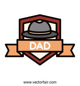 happy fathers day, hat ribbon badge decoration celebration line and fill icon