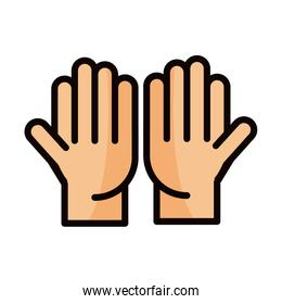 open hands gesture palm traditional line and fill icon