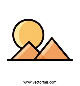 mountains sun landscape nature line and fill icon