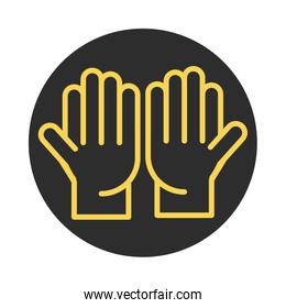 open hands gesture palm traditional block and line icon