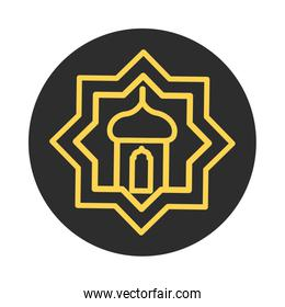 lantern ornament eid mubarak islamic religious celebration block and line icon
