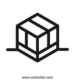 delivery cargo service logistic cardboard box line style icon