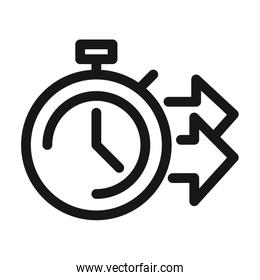 delivery cargo service logistic stopwatch time fast line style icon