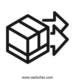 delivery cargo service logistic cardboard box linear style